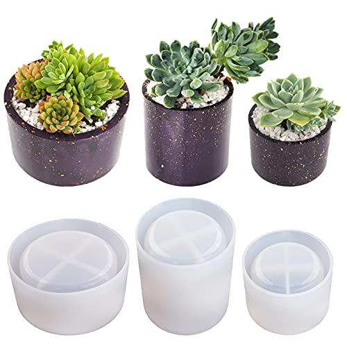 Round Pots Resin Molds ,Plant Pots Molds, 3 Sizes Plant Pots Silicone Molds Succulent Plants Concrete Planter Vase Molds for DIY Gardening Pots Craft Home Decorations,3PCS