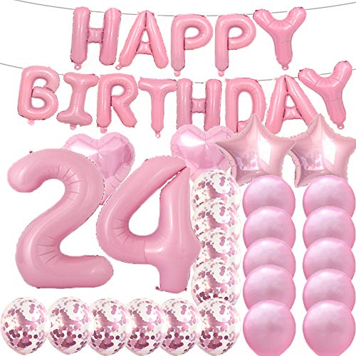 Sweet 24th Birthday Decorations Party Supplies,Pink Number 24 Balloons,24th Foil Mylar Balloons Latex Balloon Decoration,Great 24th Birthday Gifts for Girls,Women,Men,Photo Props