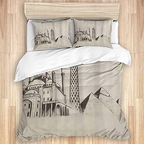 GugeABC Bettbezug-Sets Bettlaken,Handgezeichnete Gebäude in Kairo, 3-teiliges Bettwäscheset mit 2 Kissenbezügen in Einzelgröße 135x200cm (53x78 Zoll)
