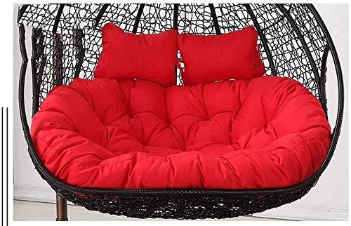Columpio para jardín, Patio, al Aire Libre, ratán, Columpio, para sillas, Columpio, Columpio, Cesta, Asiento, cojín, tamaño: 110x150cm (Color: Rojo)-Rojo Iteration