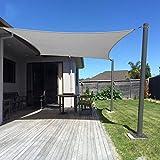 Dripex Sonnensegel Sonnenschutz Set inkl Befestigungsseile Rechteckig Wasserabweisend Polyester Imprägniert 95% UV Schutz Windschutz Wetterschutz 4X5 m für Balkon Garten Terrasse Grau