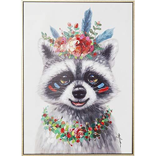 Kare 61553 B07JLM42PB afbeelding Touched Flowers Raccoon 72x52cm, meerkleurig, één maat