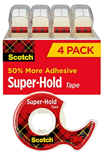 Scotch Super-Hold Tape, 4 Rolls, Transparent Finish, 50% More Adhesive, Trusted Favorite, 3/4 x 650 Inches, Dispensered (4198)