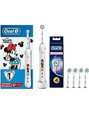 Oral-B Junior Şarj Edilebilir Diş Fırcası (6+ Yaş) Ve 4'Lü Sensitive Ultra Thin Yedek Başlık, Minnie