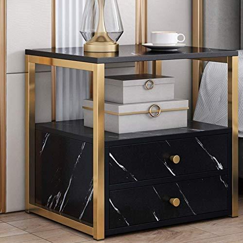Table de table de table en marbre en fausse chambre moderne, armoires de chevet moderne, cadre en métal supérieur et doré, table à côtés de lit avec deux tiroirs, pour salon ( Couleur : Noir )