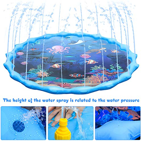 Splash Play Mat,Sprinkle and Splash Water Play Mat Play Mat Party Sprikler Splash Pad Summer Spray Toys for Kids and Outdoor Garden Family Activities