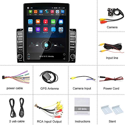 Double Din Stereo 9.7 inch Android Car Radio Vertical Display Touchscreen Car Stereo with GPS+WiFi+FM+Bluetooth, Mirror Link, SWC, Reversing Image Input + Backup Camera