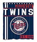 Minnesota Baseball Team Emblem Waterproof Shower Curtain Blue Design Polyester for Bathroom Decoration 60 x 72 Inches with 12-Pack Plastic Hooks