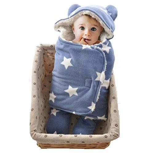 Jian Ya Na Baby Swaddle Deken Slaapzak Zachte Warm Fleece Inbakeren Dekens voor Bad, Air-Conditioned, Winter met klittenband, 30.7