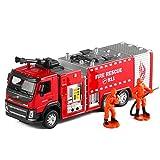 Xolye 1:50 Alta Pressione Scala Water Gun Fire Truck Modello Retrattile Cloud Fire Truck Simulazione Sound And Pull Back Light for Bambini Giocattolo in Lega Auto Open Door Boy Toy Car