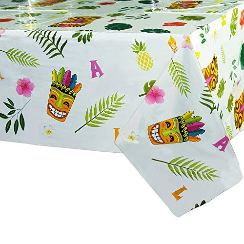 WERNNSAI Mantel de Fiesta Luau Hawaiano - 2 PCS 110 x 180cm Mantel Desechable de Plastico, Artículos de Fiesta Aloha para Niños Verano Decoraciones de Fiesta Cumpleaños