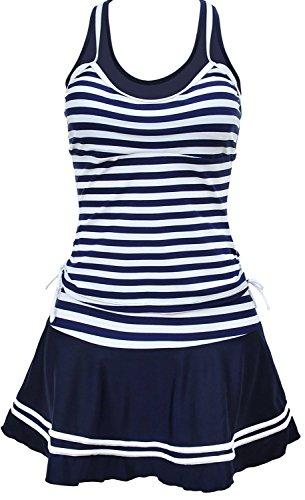 HONGYISWIN Damen Sport Marine Tankini Streifen Retro Bikini Set mit Rock Badeanzug Badekleid Bademode Beachwear (Blau, XXL(EU 42-44))