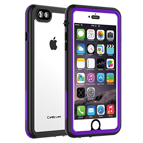 CellEver Compatible with iPhone 6 / 6s Waterproof Case Shockproof IP68 Certified SandProof Snowproof Full Body Protective Clear Transparent Cover Designed for iPhone 6 / 6s (4.7 Inch) KZ Purple