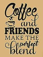 コーヒーと友達が完璧なブレンドを作る、ブリキのかんばん、ヴィンテージの鉄の絵の具の金属板ノベルティの装飾クラブカフェバー