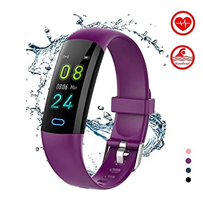 BingoFit Kids Fitness Tracker Watch with Heart Rate Monitor, Swimproof Kids Activity Tracker Pedometer Watch, Slim Sport Fitness Watch with Sleep Monitor, Calorie Counter for Kids Women Men (Purple)