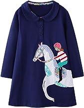 BTGIXSF Toddler Girls Cotton Dress Little Girl Casual Cartoon Long Sleeves Skirt Dresses