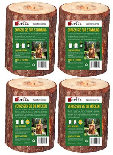 Moritz Lot de 2 feutres suédois + 2 torches d'arbre parfumées à la citronnelle avec mèche d'allumage, torches de jardin, torches de fête en bois de 1,5 à 2 heures de combustion 20 cm de haut
