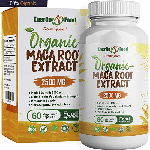 Organic Maca Root Capsules 2500mg High Strength - Naturally Rich in Vitamin C, B6, Copper, Iron, Pure Peruvian Maca NO ADDITIVES - Vegan Superfood - Maca Root Tablets by EnerGoFood (60 Capsules)