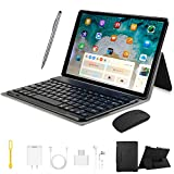 4G Tablets 10.1 Pulgadas, Android 9.0 Tablet PC con 4GB RAM+ 64GB ROM, Quad-Core 8MP 2 in 1 Tablet con Teclado, 8000mAh Moviles Buenos o Tablets Puede Llamar Apoyo Dual SIM WiFi/Bluetooth/OTG (Negro)