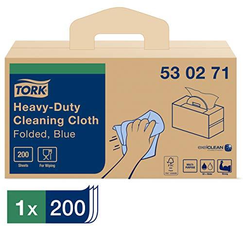 Tork 530271 Heavy-Duty reinigingsdoek/1 laags multifunctionele wegwerp katoenen handdoek voor W7 handig doossysteem/blauw/35,5 cm x 10,8 cm/200 vellen