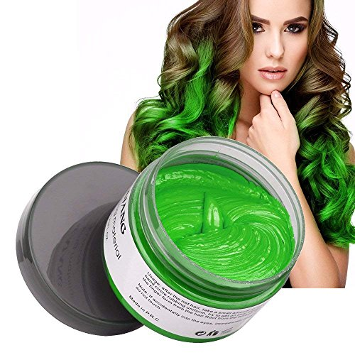 Hair Coloring Wax, Instant Fresh Green Disposable Matte Hairstyle Mud Cream Hair Pomades for Kids Men Women Cosplay Nightclub Masquerade Transformation