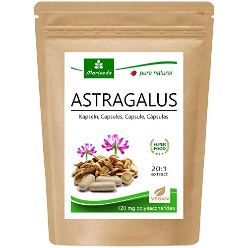 MoriVeda® - Astragalus Kapseln (112 mg Polysaccharide und 0,8 mg Glucoside) Tragant Tragacantha Membranaceus Wurzelpulver – 100{2f01be2fa3ec0dcc7b99952de23bf96acefe350c547d24f3db52766224e21955} veganes Qualitätsprodukt (1x90 Kapseln)