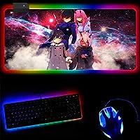 ゲーミングマウスパッド ダーリン・イン・ザ・フランキス RGBゲーミングマウスパッドソフトラージLED拡張マウスパッド滑り止めラバーベースコンピューターキーボードパッドPCアクセサリー (A)_30x80x0.4cm