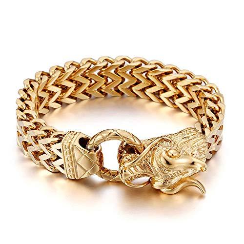 WANGLXTC Regalo Pulsera Acero Titanio, Pulsera De Oro 24k Domineering Fashion Men's Faucet Bracelet Joyas para Hombres Multa, Gold