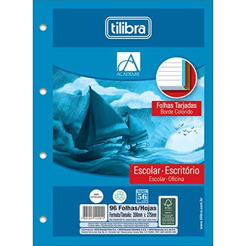 Refil Tiliflex para Caderno Argolado Universitário Borda Colorida, Tilibra, Académie, 122912, 20x27.5cm, 4 Cores, 96 Folhas