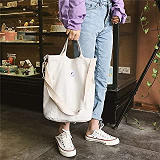 Luggage & Bags Casual Solid Color Canvas Shoulder Diagonal Bag Large Capacity Backpack Bag (Black) Luggage & Bags (Color : White)