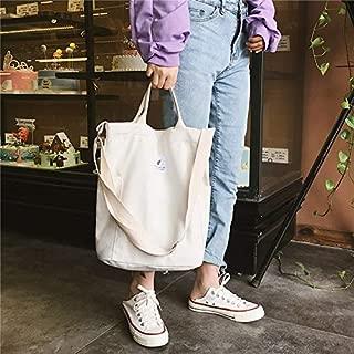 Fashion Single-Shoulder Bags Casual Solid Color Canvas Shoulder Diagonal Bag Large Capacity Backpack Bag (Black) (Color : White)