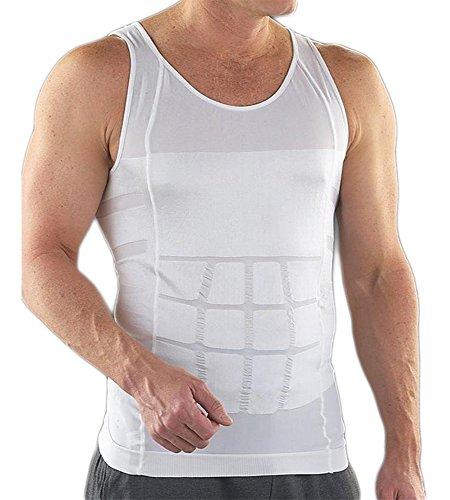 Bauchweg Bodyshaper Slimming T-Shirt Men Miederbody Shapewear Figurformer (M, Weiß)