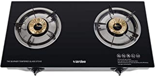 Aardee 2 Burner Glass Gas Stove With FFD, Black ARGS-2GBFFD