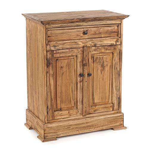 GANGKAST Finca | massief hout, 78x63 cm (HxB), mahoniehouten | zijkast met lade en twee deuren, dressoir in landhuisstijl, houten kastje, boerenkistje | Kleur: 01 natuur-vintage