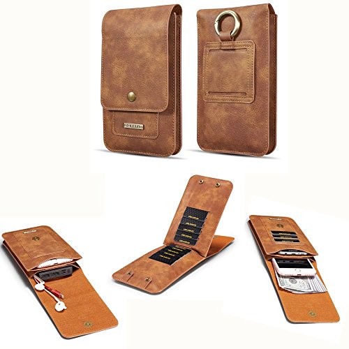 DG.MING Universal Cowhide Genuine Leather Holster Pouch Belt Clip Cases for All 6.5 inch Below Smart Mobile Phone (Brown)