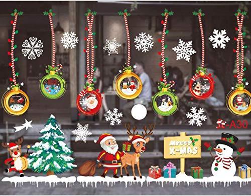 CheChury Navidad Pegatinas Ventana Feliz Navidad Papá Noel Muñeco de Nieve Alce de la Puerta Decoración de la Ventana Extraíble PVC Pegatinas Electrostáticas para Fiesta