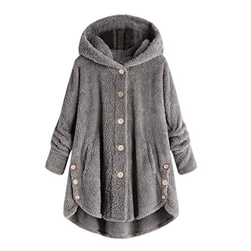 yasu7 Las mujeres de invierno de manga larga esponjosa cola Tops espesan sudadera con capucha caliente chaqueta de botones asimétrico dobladillo irregular suéter suelto S-5XL