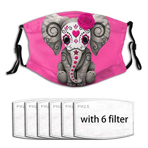 Pink Day of The Dead Sugar Skull Baby Elephant Mask Balaclava Windproof Reusable Anti-Dust Mouth Face Cover with 6 Filters