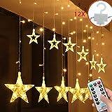 SALCAR luci Colorate di Natale del LED 2 * 1 Metro 12 Stelle Colorate Illuminano Tenda per Le Feste di Natale,...