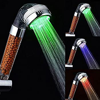 Automatic Water Temperature Color Changing Negative Ion LED Handheld Shower Head