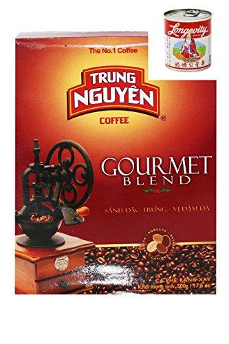 Trung Nguyen Vietnam Kaffee gemahlen Gourmet Blend 500g + 397g Kondensmilch, Gratis 2 x TrungNguyen Kaffeefilter