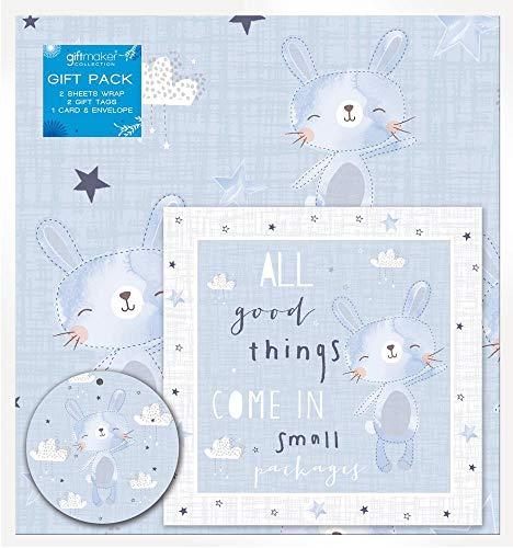 2 Vellen Nieuwe Baby Jongen Gift Set Wikkel Inpakpapier Kaart 2 Tags Leuke Konijn Ontwerp