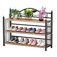 シューズラック 寝室、クローゼット、入り口、寮の部屋の3層積載可能な12ペアシューズ靴ラックのための木材金属の自立収納棚 玄関収納 (Color : Khaki, Size : 81x24x56cm)