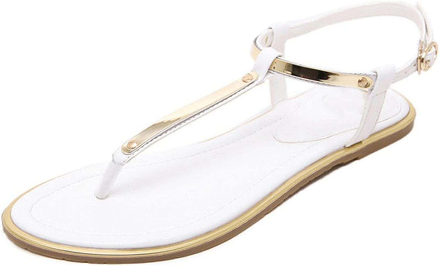 Giles Jones Flat Flip-Flops Sandals for Women-Sweet Sequined Antiskid T-Strap Buckle Clip Toe Beach shoes