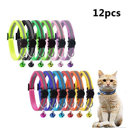 ABRRLO 12 Stücke Reflektierend Katzenhalsbänder mit Glocke mit Schnellverschluss Verstellbar 19-32cm geeignet für die meisten Katzen