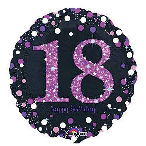 amscan 3378301 Folienballon 18.Geburtstag Celebration, Pink, Schwarz
