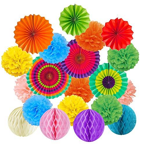 Momangel - Ventilador de papel para colgar (19 unidades), diseño de panal de abeja Multicolor