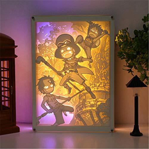 Leeslamp bedlampje tafellamp bureaulamp tafellamp Ruffy Ace Sabo Three Brothers Shanks licht en schaduw papier carving lamp Action Figure afstandsbediening licht X2741