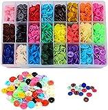 Flysee Botones de Presion de Plastico T5 Botones Redondos Snaps Resin Botones Plástico Botón de Presión de Resina DIY 24 Colores 12mm de botones 360 Sets (Sin Alicates de Presión)