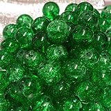 1008MM Grün Crackle Glasperlen in